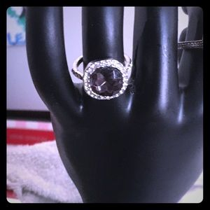 Beautiful black and silver costume ring.